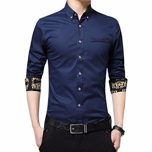 Bouton De Manchette Francais Bureau De Design Poche De Luxe Ainsi Que Chemise Pour Les Hommes Vers Le Bas bleu fonce