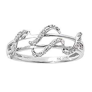 Naava 9 ct White Gold 0.11 ct Diamond Snake Ring