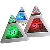 Ularma Créative pyramide humeur température LED allume changement rétro-éclairage LED lune musique alarme horloge cadeau maison de décoration
