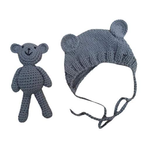 FeiliandaJJ Neugeborene Hut Stretch Stricken Foto Baby Hut + Teddybär Kostüm Fotografie Requisiten (Grau) Stretch-hut