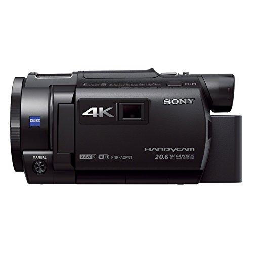 Sony FDR-AXP33 kompakter 4K Camcorder (4K Aufnahmen bis zu 100Mbps, XAVC S Format, 10-fach opt. Zoom, 20x Klarbild-Zoom, Infrarot Aufnahmen dank Nightshot-Funktion) schwarz - Nfc Sony Cam