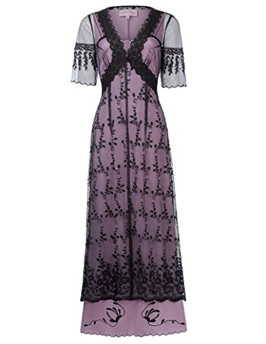 Belle Poque Damen Steampunk Viktorianisch V-Ausschnitt Maxi Party Kleid L Schwarz - Schiere Belle