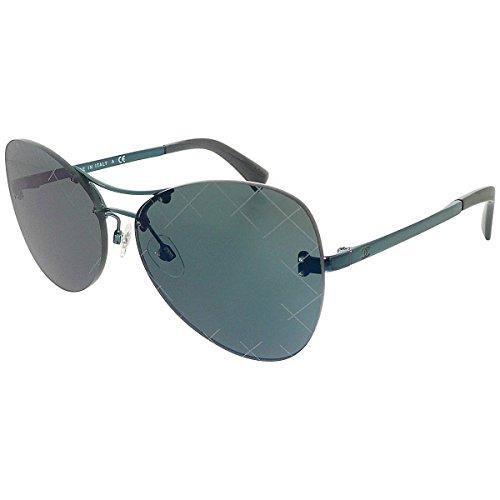Chanel ladies pista farfalla senza montatura occhiali da sole con lenti a specchio blu scuro