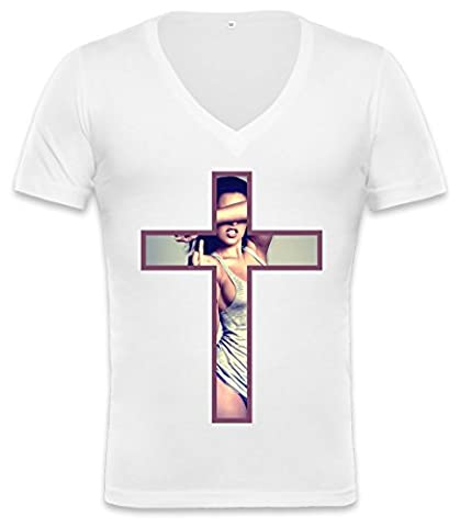 Girl Inside Cross Unisex Deep V-neck T-shirt Medium