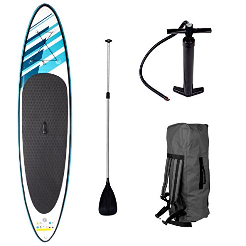 SUP Board Stand up Paddling Surfboard SHARK 320x76x15cm aufblasbar Double-Layer 115KG Tragkraft Alu-Paddel Hochdruck-Pumpe Transportrucksack Paddle