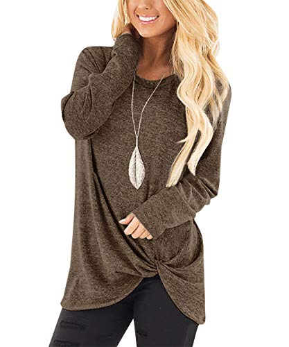 Yidarton Damen Langarm T-Shirt Rundhals Ausschnitt Sweatshirt Hemd Lose Asymmetrisch Bluse Tops (Braun, XX-Large)