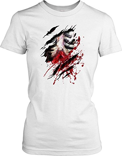 Zombie Walking Dead Ribs And Guts Ripped Design - Ladies T-Shirt - White - Medium