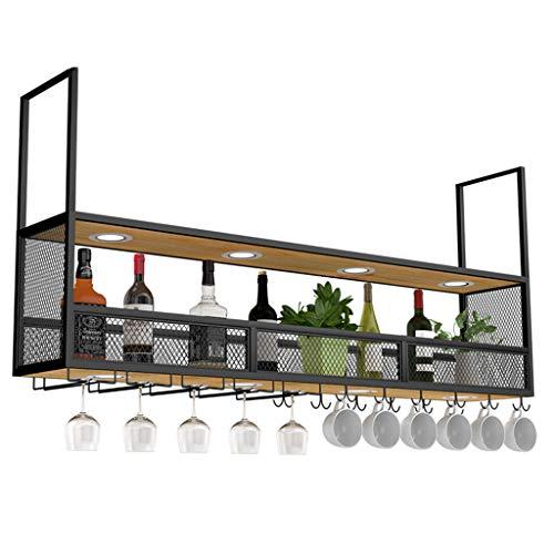 WEIB-weinregale Retro-Decken-Multifunktions-Weinregal mit Strahlern, Metallwand hängen Wandregal Flasche und Gläser Lagerregal Verwendung für Gewerbe und Haushalt