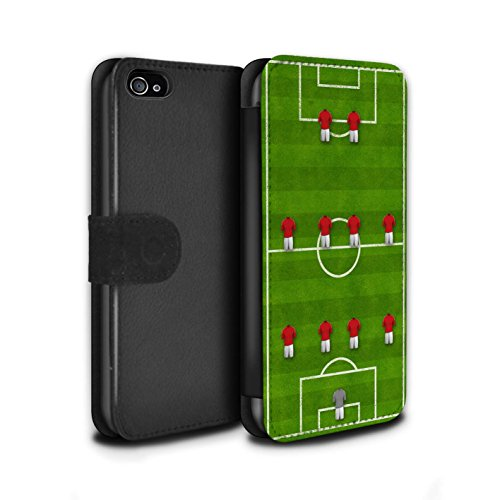 Stuff4 Coque/Etui/Housse Cuir PU Case/Cover pour Apple iPhone 4/4S / Pack 9pcs Design / Formation Football Collection 4-4-2/Rouge