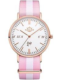Sailor Reloj Limited Edition Sylt, Model: Sylt en rosègold/blanco con nylon pulsera | Reloj de cuarzo con indicador analógico | Exclusivo del Mar del Norte Accessories4men 2017, color pulsera: Sun