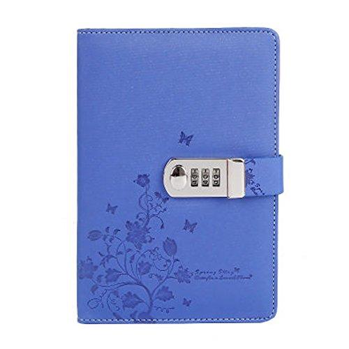 Cheerlife Tagebuch mit Passwort PU Leder Notizbuch mit Schloss DIN A5 Notizblock gedruckt Reisetagebuch mit Blumen Schmetterlinge (Blau)
