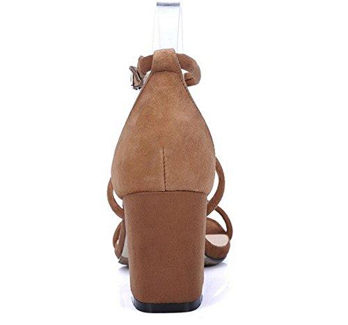 Beauqueen Peep-toe Pompe casuale del lavoro Sandali WomeAnkle Strap grosso tacco basso elegante kaki Nero Europa formato 34-39 Khaki