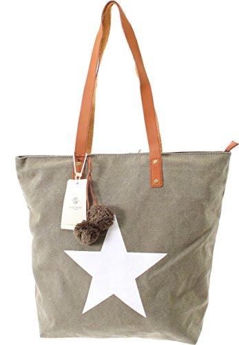 Shopper Canvas-Tasche Blogger Schultertasche Canvas Damen Handtasche Schultertasche Umhängetasche Henkeltasche (Olive) Olive