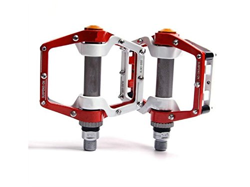 XeibD Stilvoll Pedale Aluminium Durable Professional Ersatzteile Ersatz für Mountainbike (Rot und Weiß)