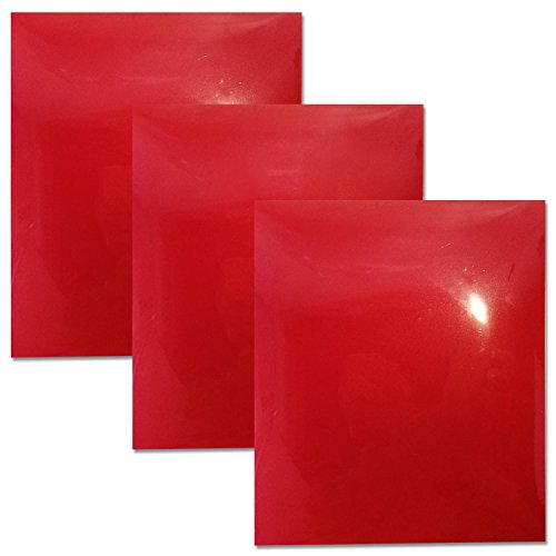 LaRibbons Fuzzy Flock Heat Transfer Vinyl für Textil von Haushalt Eisen und Hitze Press-30CM x 25CM, 3 Blätter (Rot) (Flock Transfer Heat)