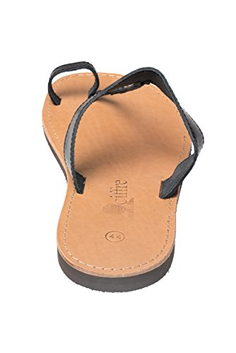 Sandali di Gesu Infradito Premium di vera pelle con cinghiette fatti a mano dalla Grecia Creta di colore beige Dimensione 36 - 47 Nero