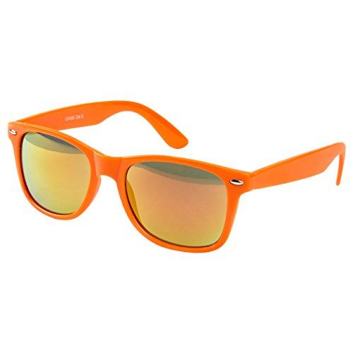 Ciffre Sonnenbrille Nerdbrille Nerd Retro Look Brille Pilotenbrille Vintage Look - ca. 80 verschiedene Modelle Neon Orange Feuer Verspiegelt