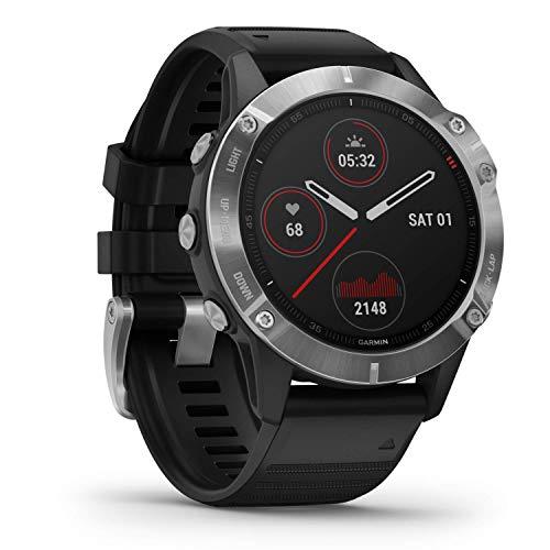 Oferta de Garmin fēnix 6 - Reloj GPS multideporte definitivo con sensores, VO2 Max, frecuencia cardíaca, carga de entrenamiento, Plateado con correa negra