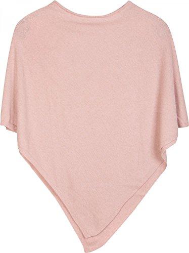 styleBREAKER weicher Feinstrick Poncho in Unifarben, Rundhals, Damen 08010042, Farbe:Rosa