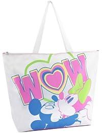 Bolsa playa mujer a 2asas Disney Minnie y Mickey cm. 53x 40x 13Turquesa Wow