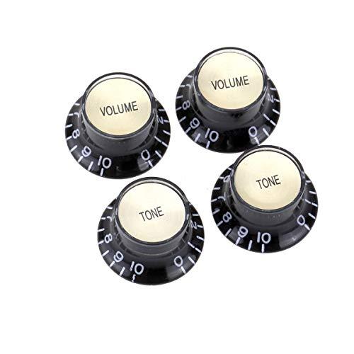 Musiclily Pro Imperial Zoll Größe 2 Volume 2 Tone Potiknopf Top Hat Reflector Knobs Set für USA Les Paul SG E-Gitarre, Schwarz mit Gold Top
