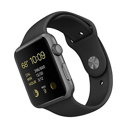 Apple Computer Apple Watch Sport (1. Generation) 42mm A1554 Aluminium Gehäuse mit Sportarmband Schwarz (MJ3T2) (Generalüberholt)