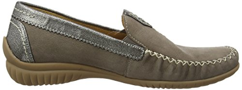 Gabor California Damen Mokassin Grey (Grey Nubuck/Grey Metallic Leather)