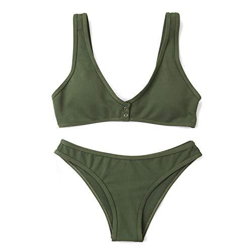 Bañador de Mujer Bikini Color sólido Sexy Split Traje de baño de Tela Especial, Verde Militar, S