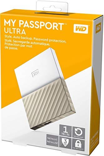 WD My Passport Ultra Disque Dur Externe Portable 1To avec Sauvegarde Automatique pour PC, Xbox One et Playstation 4 - Blanc/Doré