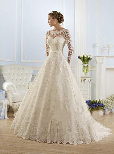 Jyl - abito da sposa, abito da damigella d'onore, con una spalla, medi e lunghe, scollatura sul retro, pure white, us:2 (s)