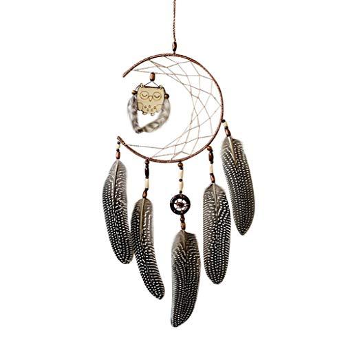 Preisvergleich Produktbild TAOtTAO 1x Traumfänger mit Federn Holz Eule Wandbehang Dekoration Ornament Geschenk