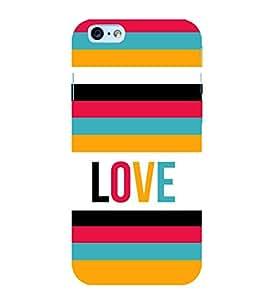Fiobs Designer Back Case Cover for Apple iPhone 6 (Pink Orange Green Violet Band Love)