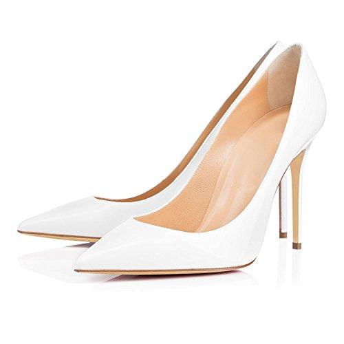 Bianco Tacco Donna Donna 10CM Scarpe EDEFS Scarpe Estate da Eleganti con w610pqvW