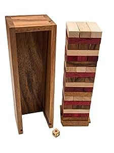 Holz WackelturmDreifarbigMit Rombol Aus WürfelHolzSchwere VarianteFamilienspielGesellschaftsspiel sQrthxCd