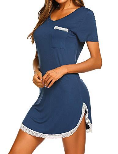0202842c547f66 MAXMODA Nachthemd Damen Nachthemden Nachtwäsche Baumwolle Sleepshirt Kurzarm  Sexy Schlafshirt Nachtkleid -M