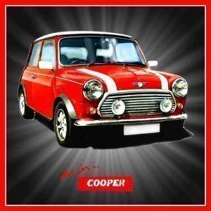 Mini Cooper Red Classic Car Acrylic Drinks