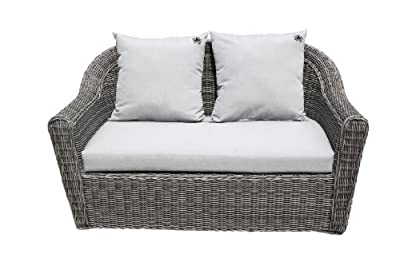 Strandgut07 Polyrattan 2er Sofa bicolor inkl. Kissen, grau, ca. 152 cm