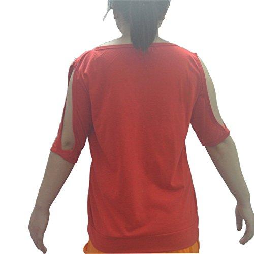 Aoweite Frauen aus der Schulter Kurzarm T-Shirt Rundhals Feder Druck Tops Rot