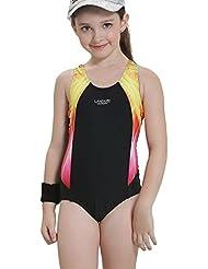 Bwiv traje de baño niña una pieza multicolor traje de natación resistente al cloro para niñas de 2 a 15 años