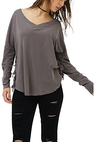 trueprodigy Casual Damen Marken Long Sleeve Einfarbig Basic, Oberteil Cool und Stylisch mit V-Ausschnitt (Langarm & Slim Fit), Langarmshirt für Frauen in Farbe: Grau 1182501-0403-M