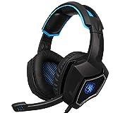 Mvlike 3,5 mm + USB-Kopfhörer, Spiel Live-Computer-Spiel Esports-Headset, verstecktes Mikrofon, Dekompressions-Stirnband mit DREI Abschnitten, leicht (Farbe : Blau)