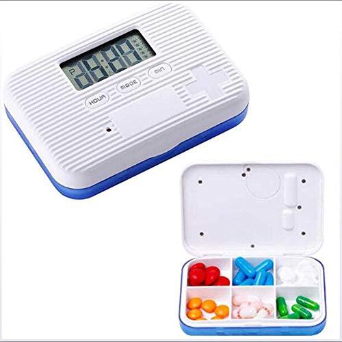 God KK Smart Pill Reminder, Geplanter Erinnerungs Kit Six Grid Mini-Pille-Kasten versiegelte feuchtigkeitsbeständig, intelligente bewegliche Pill Box,Blau -