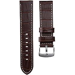 Genuine Leather Alligator Grain Watch Strap, for U-Boat, Brown, 23 mm