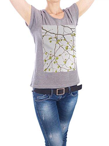 "Design T-Shirt Frauen Earth Positive ""Buche"" - stylisches Shirt Floral von Tan Kadam Grau"