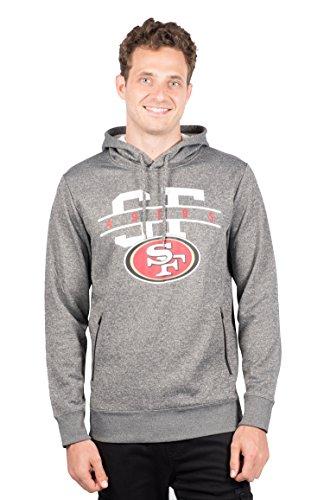 Icer Marken NFL Herren Fleece Hoodie Pullover Sweatshirt Reißverschluss Tasche, grau/Navy, Herren, JHM4689F, Heather Charcoal, Small