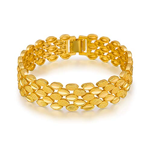 DX.OPK Modeschmuck Goldkette Herren Armband 18 Karat / 750 Gold Vergoldet Schwerer Armreif zum Geburtstag Weihnachten