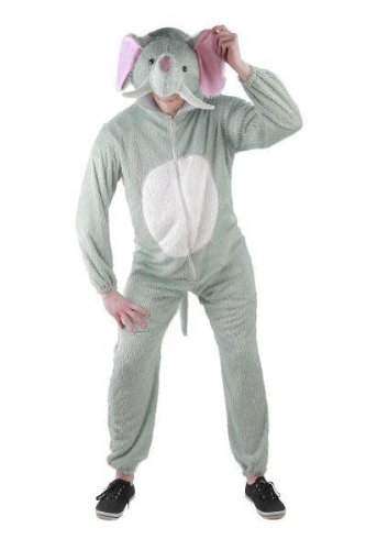 Foxxeo Elefanten Kostüm für Erwachsene Damen und Herren Tierkostüm Overall Jumpsuit Größe L