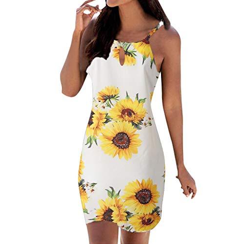 routinfly Sommerkleid Damen Cocktailkleid Abendkleid,Bedrucktes ärmelloses Kleid Neckholder Print ärmellos lässig Mini Beachwear Kleid Sommerkleid S-XXL (Abendkleid Informelles)