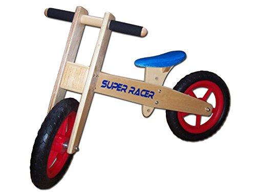 Dunjo® Holz Laufrad Roady Blue Lauflernrad, Blau, Höhenverstellbar für Jungen & Mädchen
