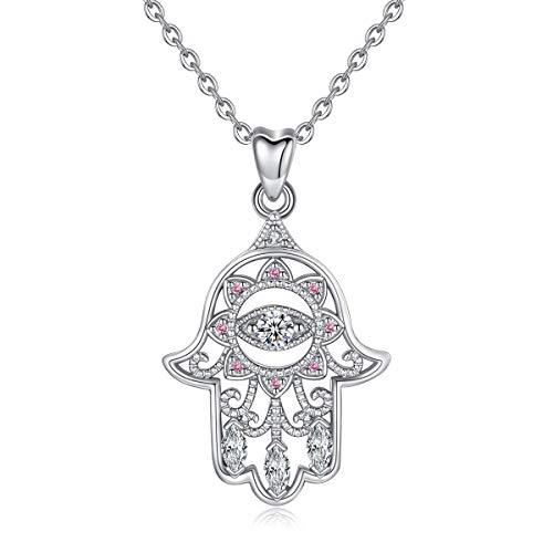 Kette 925 Sterling Silber Böse Auge Hamsa Hand Viel Glück klar CZ Vintage Anhänger Halskette für Frauen Damen Bestes Urlaubs Geschenk, 18